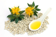 Safflower Seeds And Oil.