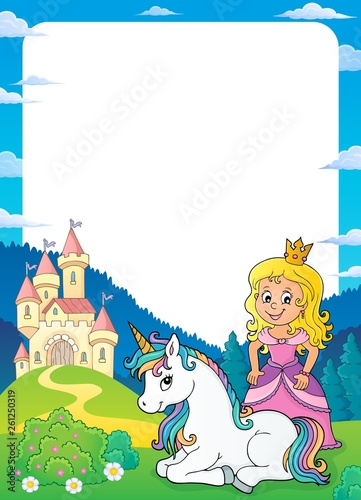 Foto op Aluminium Voor kinderen Princess and unicorn theme frame 1