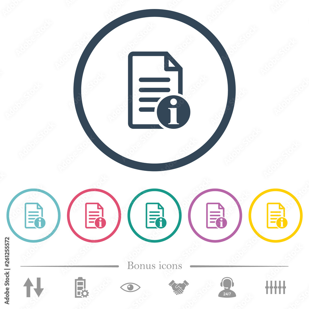 Fototapety, obrazy: Document info flat color icons in round outlines