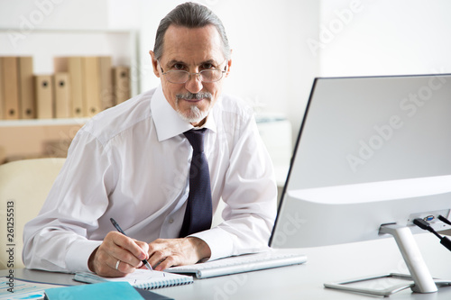 Garden Poster Portrait of senior businessman working in an office