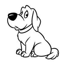 Sad Dog Animal Character Cartoon Illustration Isolated Image Coloring Page