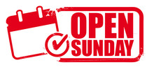 Open Sunday Rubber Stamp Or La...