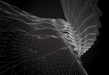 Abstract Wireframe Surface. Vector Background