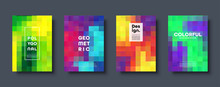 Polygonal Abstract Background With Squares. Colorful Gradient Design. Low Poly Geometric Rectangle Shape Modern Banner. Vector Illustration.
