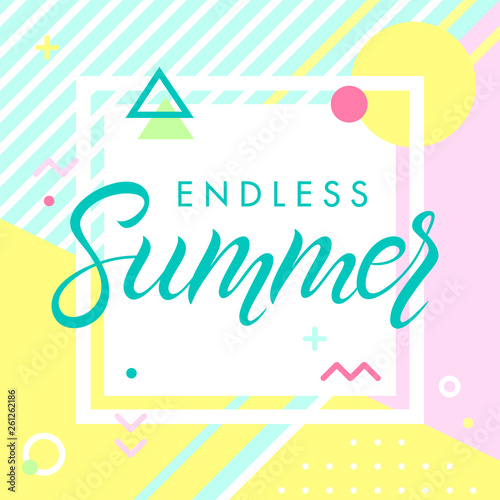 Fotomural Hand drawn lettering endless summer with retro style texture, pattern and geometric elements in memphis style