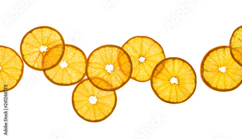 Slices of orange isolated on white background. Close up. Top view. High resolution product