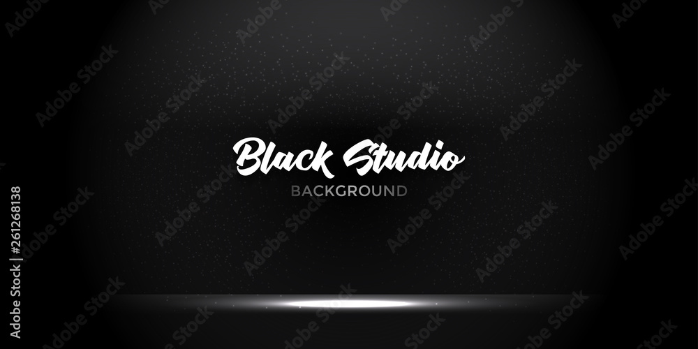 Fototapety, obrazy: Black studio background. Stylish black gradient studio showcase room background with dark and light on wall texture abstract, empty space, can use for display your products. illustration Vector EPS 10