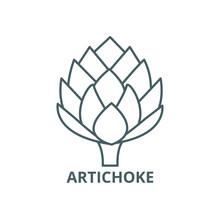Artichoke Line Icon, Vector. Artichoke Outline Sign, Concept Symbol, Illustration