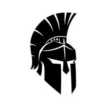 Black Spartan Helmet On A White Background.