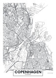 Mapa miasta Kopenhaga, projekt plakatu wektor podróży