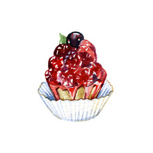 Hand Drawn Cake With Watercolor Texture. Cake With Cream, Berries. Hand Painted Sweet Cake On A White Background. Poster Or Card For Cafe, Bakery, Restaurant, Coffee House