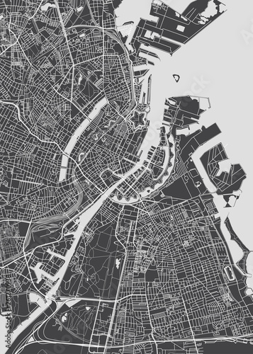Fotomural City map Copenhagen, monochrome detailed plan, vector illustration