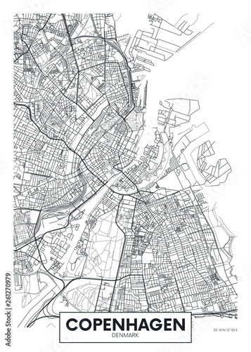 Cuadros en Lienzo City map Copenhagen, travel vector poster design