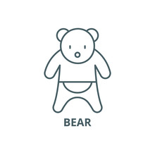 Bear Line Icon, Vector. Bear Outline Sign, Concept Symbol, Illustration