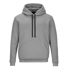 Front Of Grey Sweatshirt With Hood Isolated On White Background