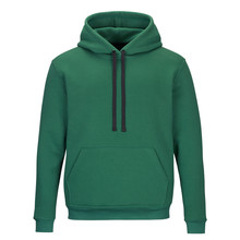 Front Of Green Sweatshirt With Hood Isolated On White Background