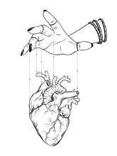 Puppet Masters Hand Controls Human Heart Isolated. Sticker, Print Or Blackwork Tattoo Hand Drawn Vector Illustration.