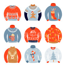 Set Of Ugly Sweaters. Many Various Sweaters With Christmas Pictures. Vector Illustration.