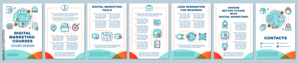 Fototapeta Digital marketing education brochure template layout