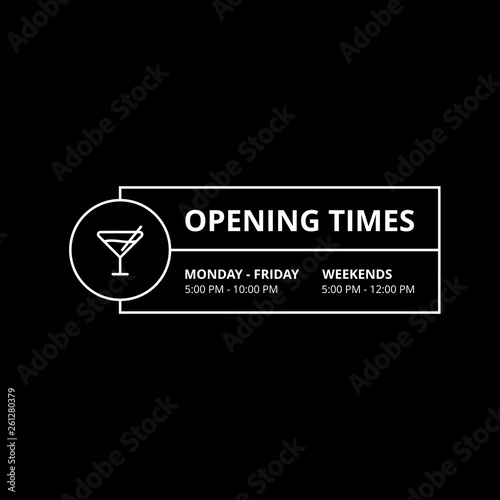 Foto  Vector Opening Times Rectangle Horizontal Design for Bars Club Nightlife