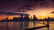 Miami skyline at sunset Time lapse