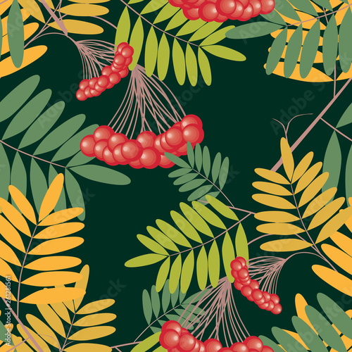 Photo Seamless pattern of rowan branches with berries