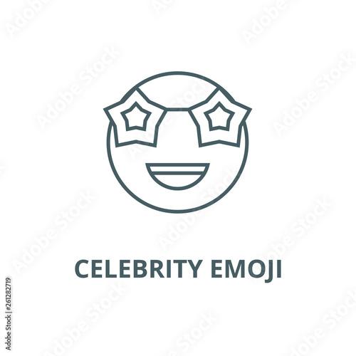 Fotografía  Celebrity emoji line icon, vector