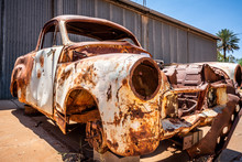 Vintage Rusty Car Wreck In Australian Red Centre