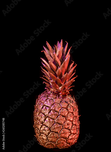 Fototapety, obrazy: Golden pineapple on black isolated background creative and art