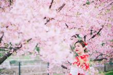 Asian Woman Wearing Kimono Wit...
