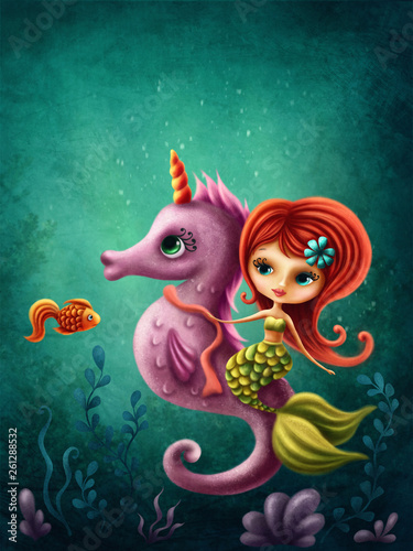 Tablou Canvas Cute mermaid with a seahorse