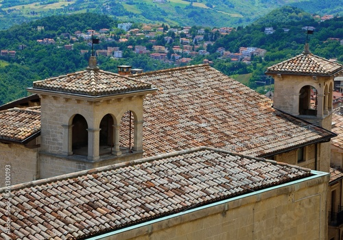 terracotta roof tiles in the small european village - Buy