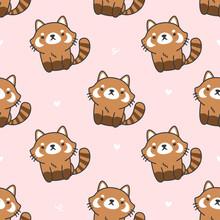 Cute Red Panda Seamless Patter...
