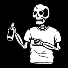 Skeleton Bottle Of Beer Black ...
