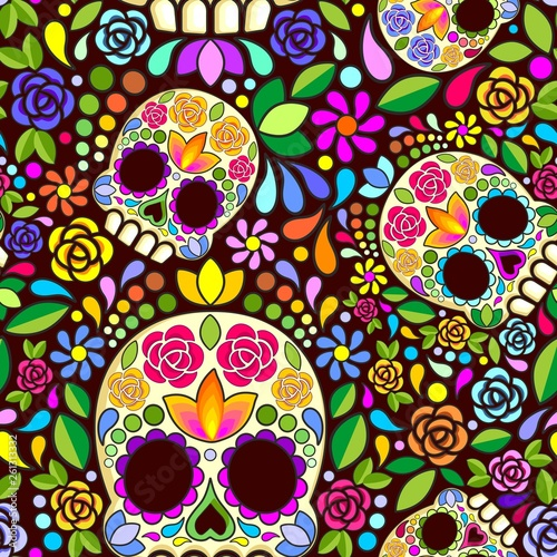 Spoed Foto op Canvas Draw Sugar Skull Floral Naif Art Mexican Calaveras Vector Seamless Pattern Design