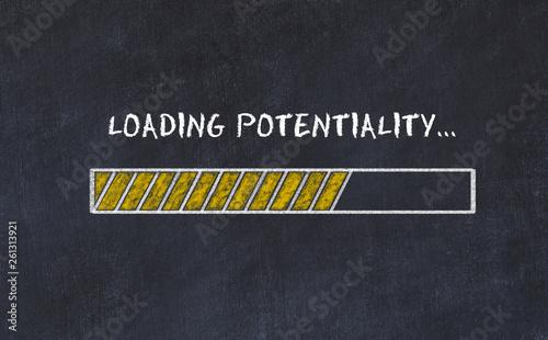 Fotografía  Chalk board sketch with progress bar and inscription loading potentiality