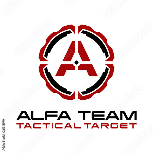 Military of A Letter Tactical Target Logo Design Fototapete