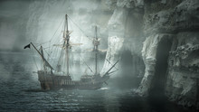 Galleon Sailing Along The Coastline, United States