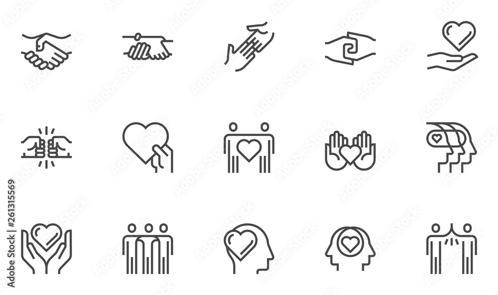 Fototapeta Friendship and Love Vector Line Icons Set. Relationship, Mutual Understanding, Mutual Assistance, Interaction. Editable Stroke. 48x48 Pixel Perfect.