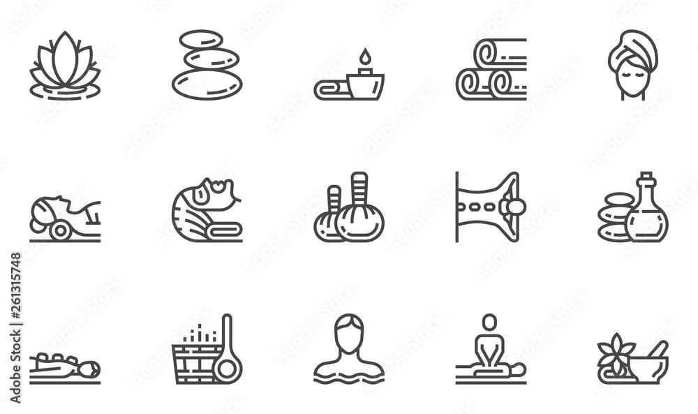 Fototapeta Spa Salon Vector Line Icons Set. Wellness Center, Stone Massage, Alternative Medicine, Treatment, Therapy. Editable Stroke. 48x48 Pixel Perfect.