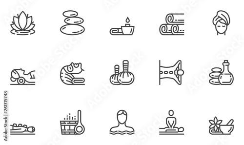 Fototapeta Spa Salon Vector Line Icons Set. Wellness Center, Stone Massage, Alternative Medicine, Treatment, Therapy. Editable Stroke. 48x48 Pixel Perfect. obraz