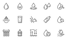 Water Vector Line Icons Set. Water Purification, Water Filter, Water Cycle. Clean, Drinking, Purified, Bottled Water. Editable Stroke. 48x48 Pixel Perfect.