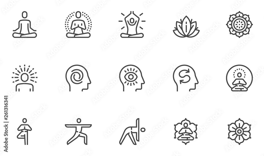 Fototapeta Meditation Practice and Yoga Vector Line Icons Set. Relaxation, Inner Peace, Self-knowledge, Inner Concentration, Spiritual Practice. Editable Stroke. 48x48 Pixel Perfect.
