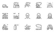 Air Pollution Vector Line Icon...