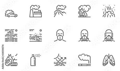 Fototapeta Air Pollution Vector Line Icons Set. Atmospheric Pollution. Natural, Transport, Industrial, Domestic Sources of Air Pollution. Volcanism, Forest Fires. Editable Stroke. 48x48 Pixel Perfect obraz