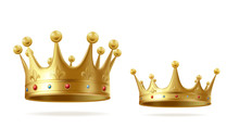 Golden Crowns With Gems For King Or Queen Set Isolated On White Background. Crowning Headdress For Monarch. Royal Gold Monarchy Medieval Coronation Symbol, Imperial Sign. Realistic Vector Illustration