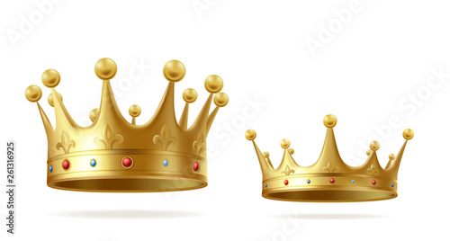 Valokuvatapetti Golden crowns with gems for king or queen set isolated on white background