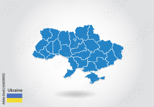 Obraz na plátně Ukraine map design with 3D style