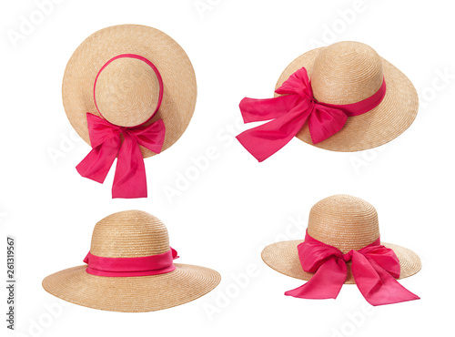 Fotografia Pretty straw hat with ribbon and bow on white background