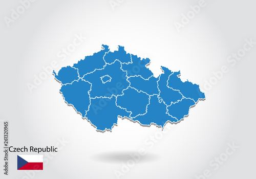 Photo  Czech Republic map design with 3D style